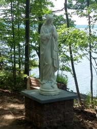 Our hearts are overflowing with joy to see this beautiful statue of Our Lady in a place of honor. Beyond excited.