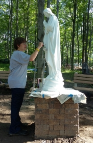 Thank you Brenda for painting a fresh coat on Our Lady statue.